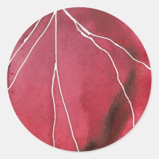 Donkerrode Marmeren Onderbreking Watercolour Ronde Sticker