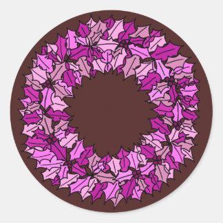 Donkerrood - de Roze Kroon van Kerstmis Ronde Sticker