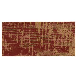 Donkerrood en Gouden Modern Art. Houten USB 2.0 Stick