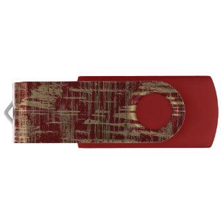 Donkerrood en Gouden Modern Art. Swivel USB 2.0 Stick