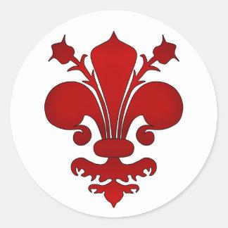 Donkerrood fleur DE lis symbool Ronde Sticker