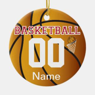 Donkerrood personaliseer Basketbal met Aantal Rond Keramisch Ornament