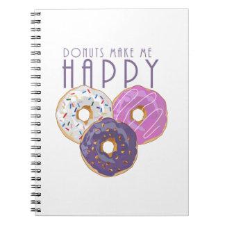 Donuts maakt me Gelukkig Ringband Notitieboek