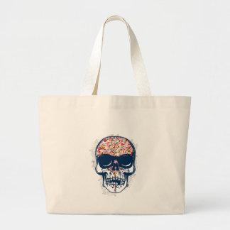 dood schedelzombie gekleurd ontwerp grote draagtas