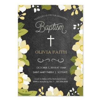 Doopsel, die Uitnodiging dopen - Meisje, Bloemen