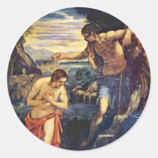 Doopsel van Christus door Tintoretto Jacopo (Beste Ronde Sticker