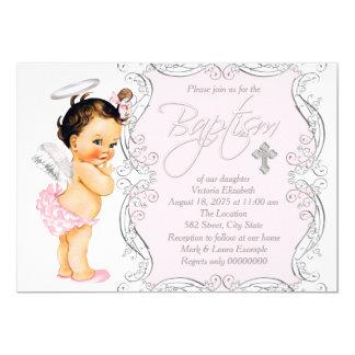 Doopsel van de Engel van meisjes het Roze 12,7x17,8 Uitnodiging Kaart