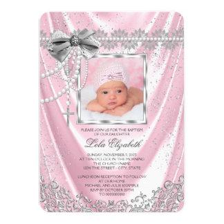 Doopsel van de Foto van meisjes het Roze en 11,4x15,9 Uitnodiging Kaart