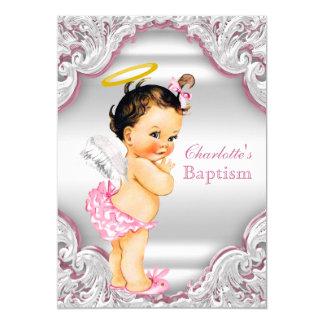 Doopsel van het Baby van het Meisje van de Engel 12,7x17,8 Uitnodiging Kaart