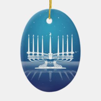 Door sterren verlicht Menorah II Keramisch Ovaal Ornament