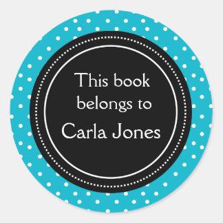 Douane Bookplates | Wit Stip op Blauw Ronde Sticker
