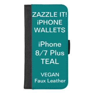 Douane Gepersonaliseerde BLAUWGROEN iPhone 8/7 iPhone 8/7 Plus Portemonnee Hoesje