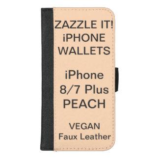 Douane Gepersonaliseerde iPhone 8/7 van de PERZIK iPhone 8/7 Plus Portemonnee Hoesje