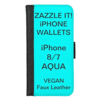 Douane Gepersonaliseerde iPhone AQUA 8/7 Spatie iPhone 8/7 Portemonnee Hoesje