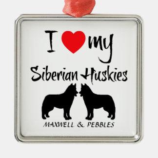 Douane I houdt van Mijn Siberische Huskies Zilverkleurig Vierkant Ornament