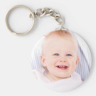 Douane uw gepersonaliseerd meisje van het fotobaby basic ronde button sleutelhanger