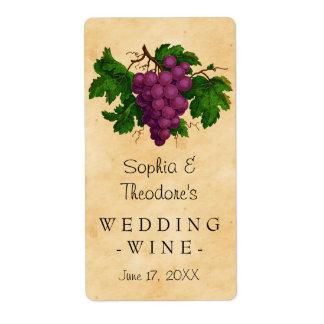 Douane van de Druiven van de Wijn van het huwelijk Etiket