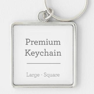Douane Vierkante Keychain Zilverkleurige Vierkante Sleutelhanger