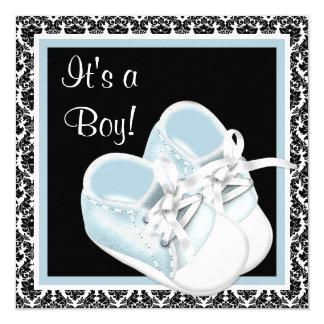 Douche van de Jongen van het Baby van het Damast 13,3x13,3 Vierkante Uitnodiging Kaart