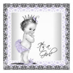 Douche van het Meisje van het Baby van de lavendel Custom Uitnodging