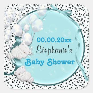 Draag de aankondiging van het ballonsbaby shower vierkante stickers