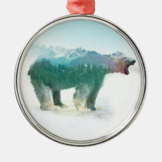 Draag dubbele blootstelling - ijsbeer - dragen zilverkleurig rond ornament