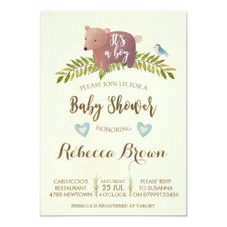 draagt het bosbos van het jongensbaby shower leuk kaart