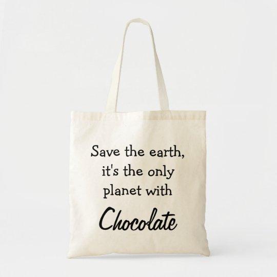 Draagtas Schoudertas citaat chocolade aarde