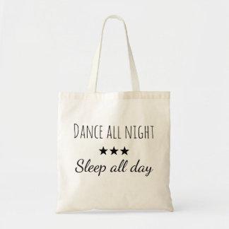 Draagtas Schoudertas citaat dansen nacht slapen