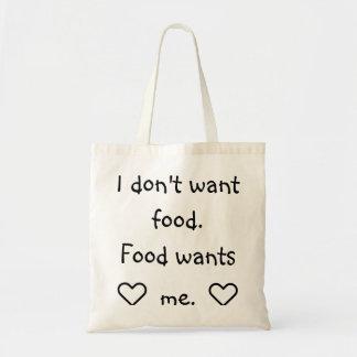 Draagtas Schoudertas citaat eten ik willen