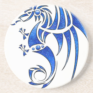 Dragissous V1 - blauwe draak Zandsteen Onderzetter