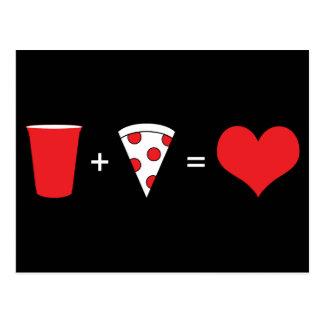 dranken + pizza = liefde briefkaart