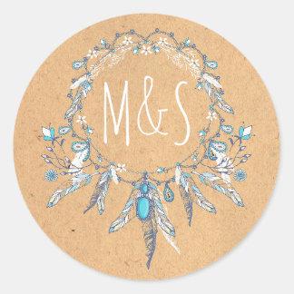 dreamcathcer boho vintage huwelijk ronde sticker