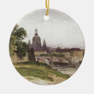 Dresden. Brug van Augustus door Ivan Shishkin Rond Keramisch Ornament