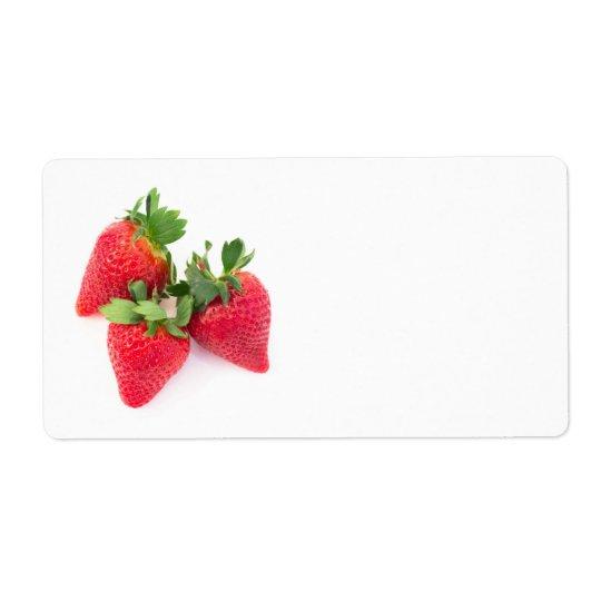 Drie aardbeien verzendlabel