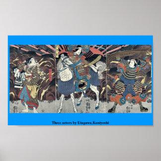 Drie actoren door Utagawa, Kuniyoshi Poster
