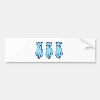 Drie Blauwe Katten Bumpersticker