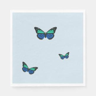 Drie Blauwe Vlinders Wegwerp Servetten