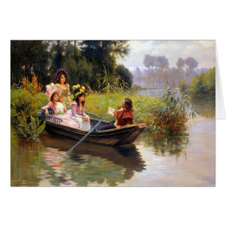 Drie dames en een man in een boot wenskaart