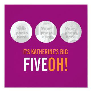 Drie foto's vijftigste FIVEOH! de foto verjaardag 13,3x13,3 Vierkante Uitnodiging Kaart