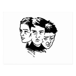 drie gezichten briefkaart