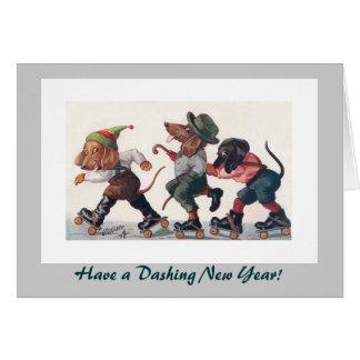 Drie het schaatsen de Vakantie van het Nieuwjaar Briefkaarten 0