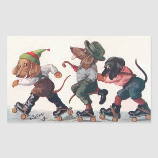 Drie het schaatsen Tekkels - een Grappig Dier Rechthoekige Sticker