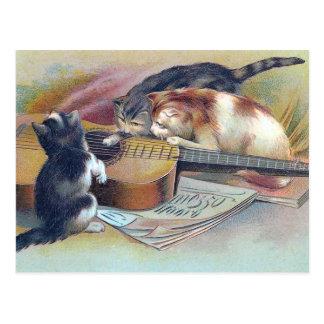 Drie Katjes en een Vintage Illustratie van de Briefkaart