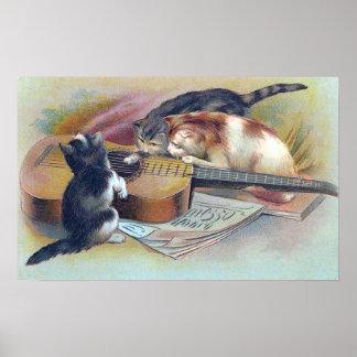 Drie Katjes en een Vintage Illustratie van de Poster