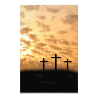 Drie Kruisen met een Briefpapier van Pasen van de