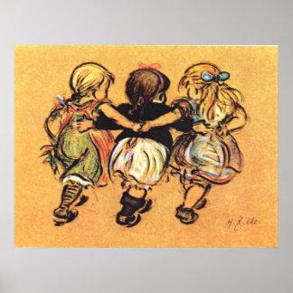 Drie Meisjes de Vroege jaren 1900 Poster