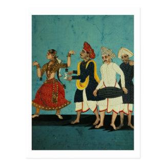 Drie musici en een dansend meisje, Tamil Tanjore, Briefkaart