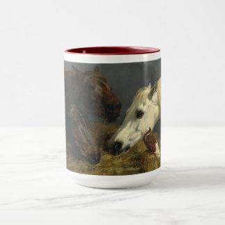 Drie Paarden die door John Frederick Herring eten Mok