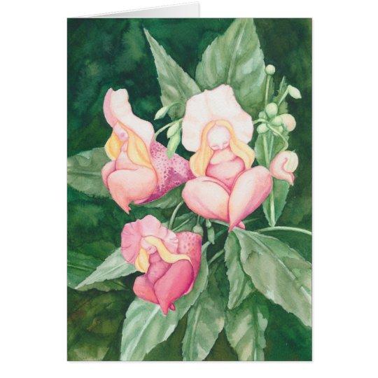 Drie roze fantasie bloem vrouwtjes briefkaarten 0